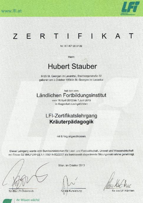 Stauber Hubert Zertifikat